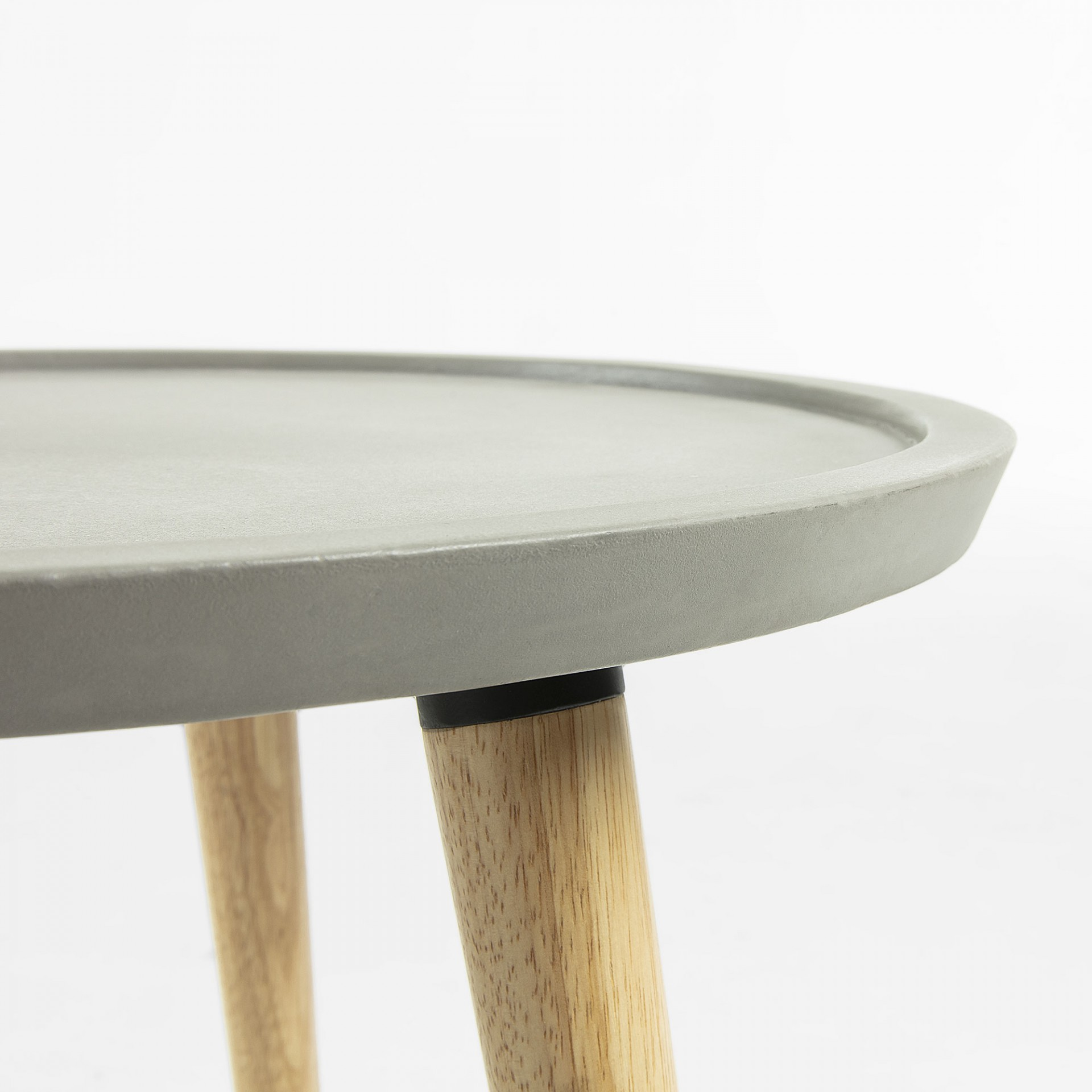 Mesa de apoio, madeira seringueira/poli cimento, Ø50x45 cm