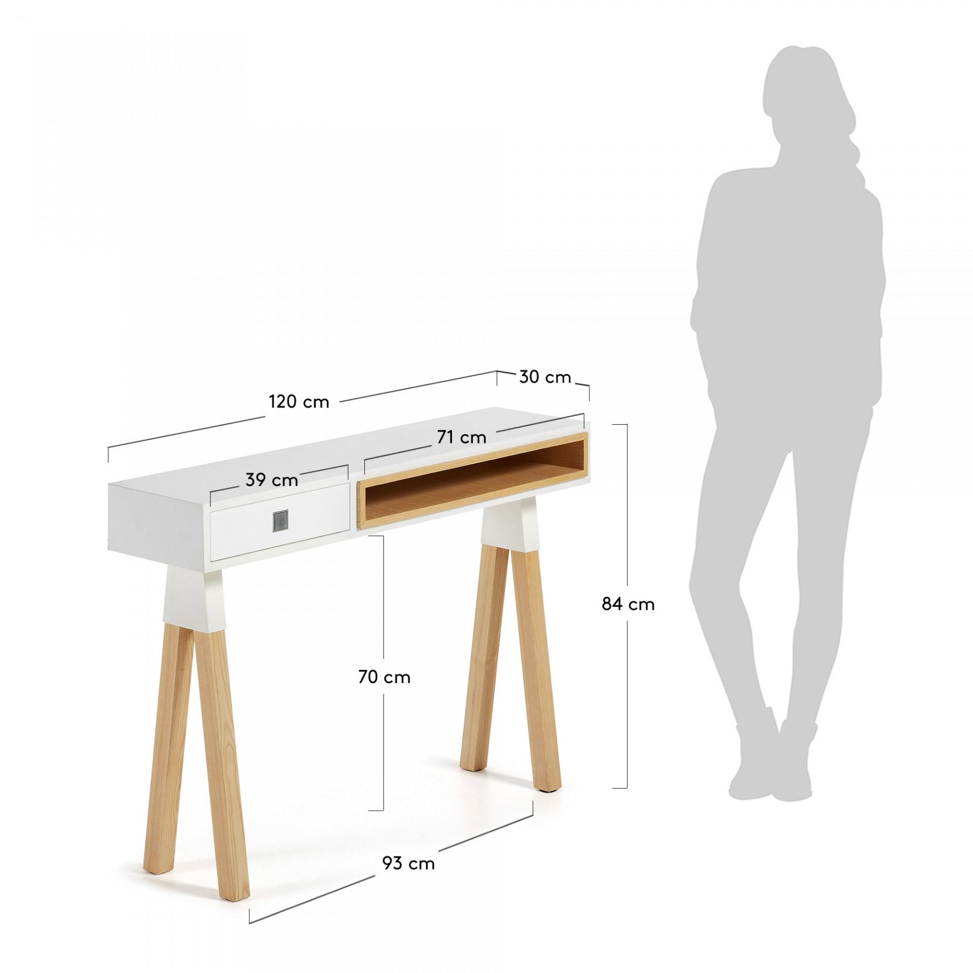 Consola em madeira de freixo e MDF lacado, 84x120 cm