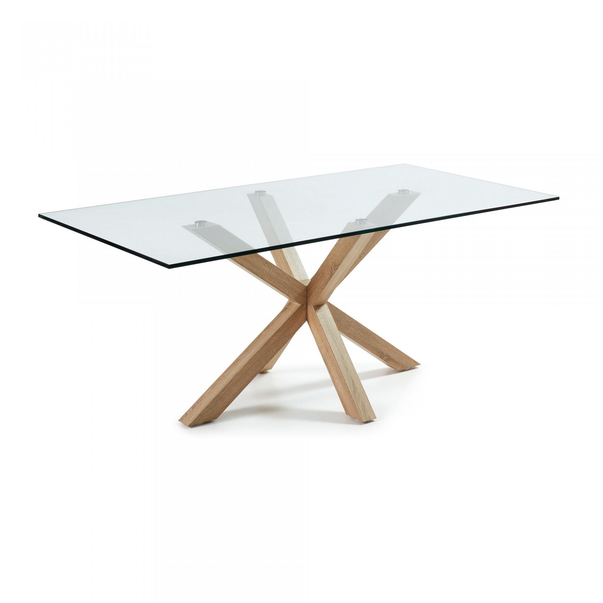 Mesa de jantar Arge, vidro/metal, 180x100 cm