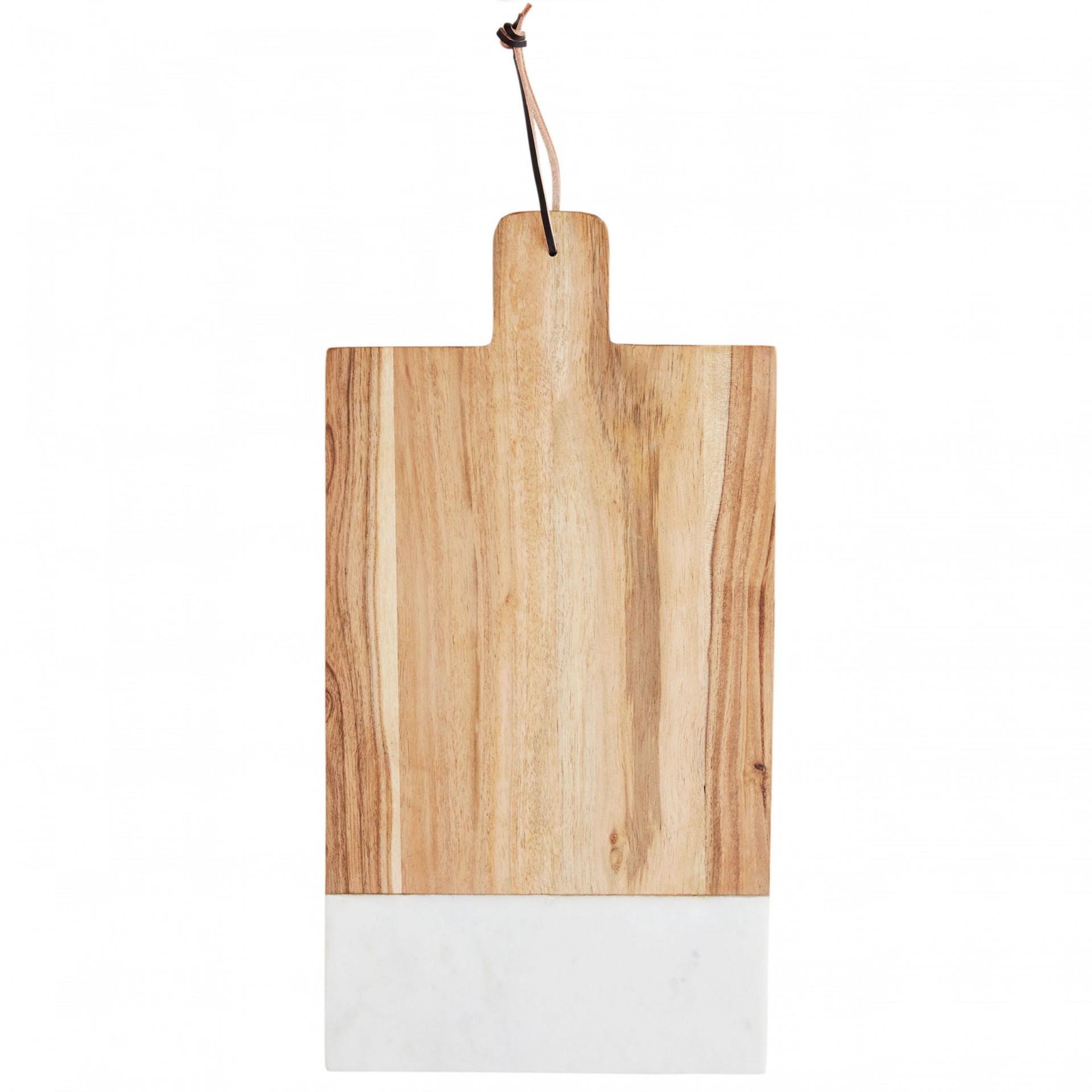 Tábua de cozinha em madeira acácia/mármore, 30x47,5 cm
