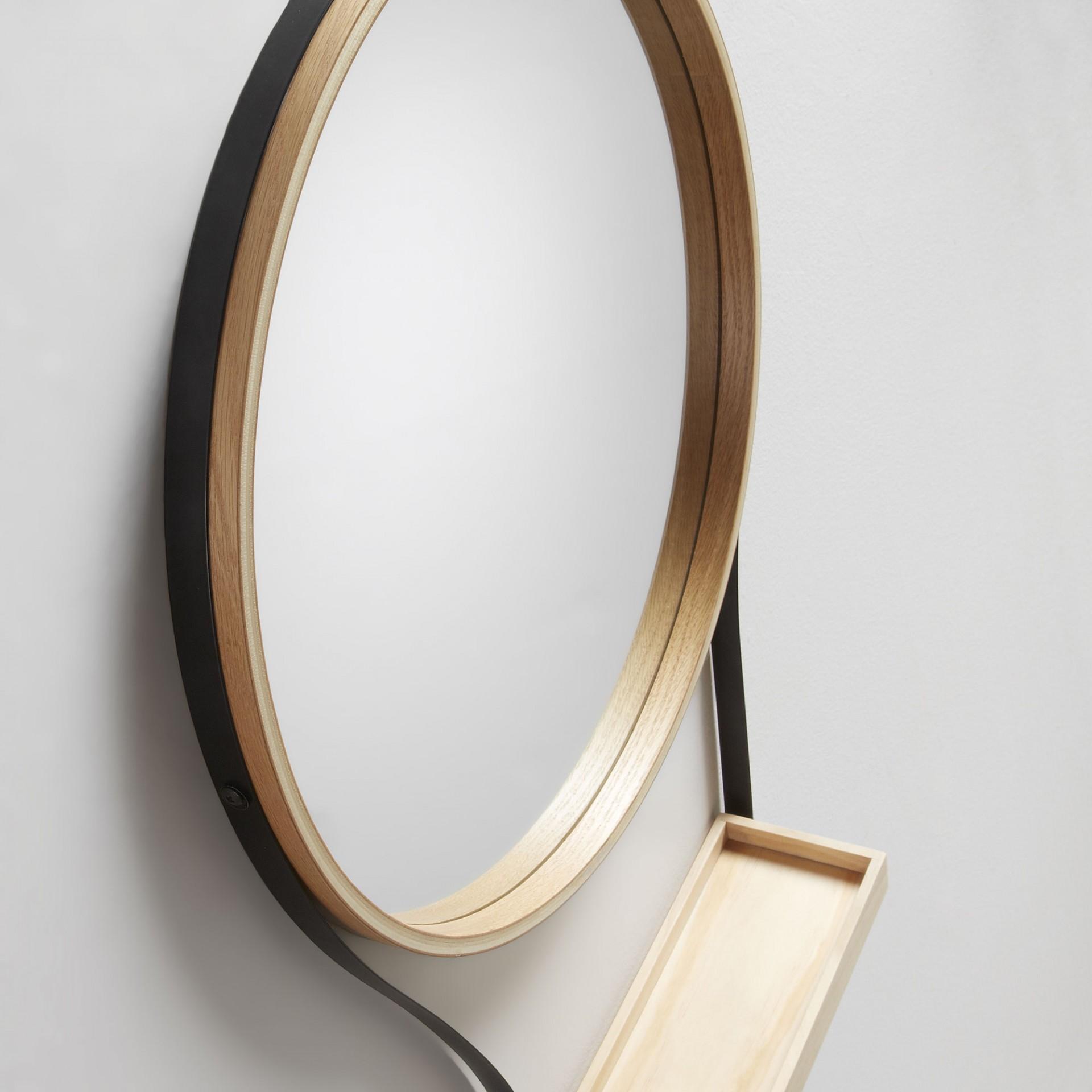 Espelho c/prateleira, madeira/metal, Ø45x64 cm