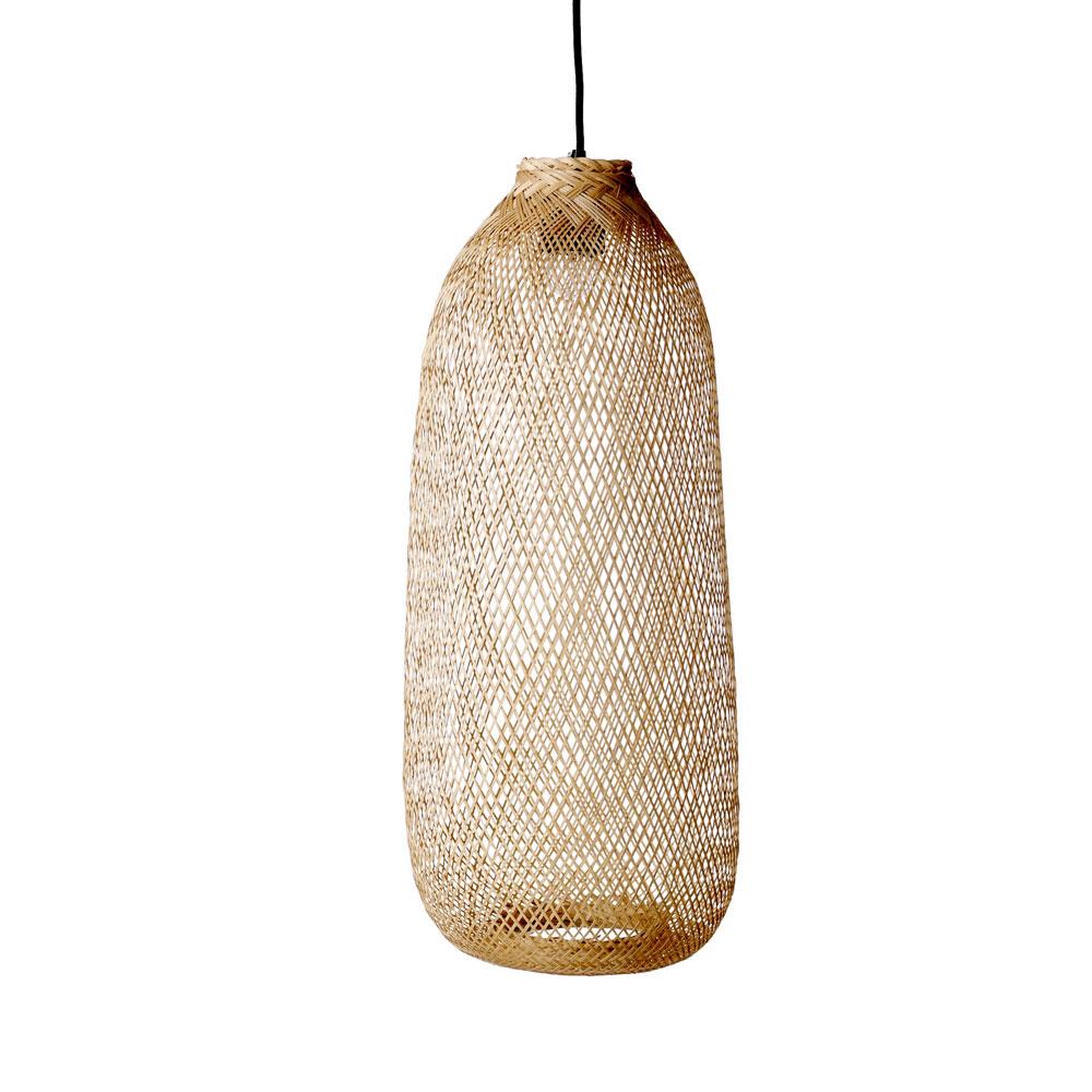 Candeeiro de tecto, bambú natural, Ø25x65 cm