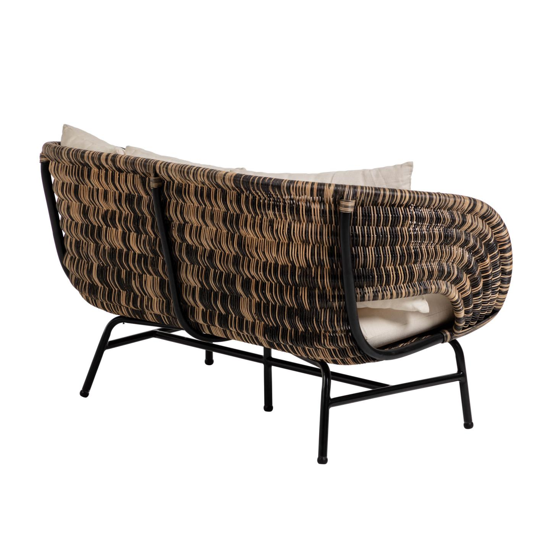 Sofá Lina, c/almofadas, rattan/metal, 77x153 cm