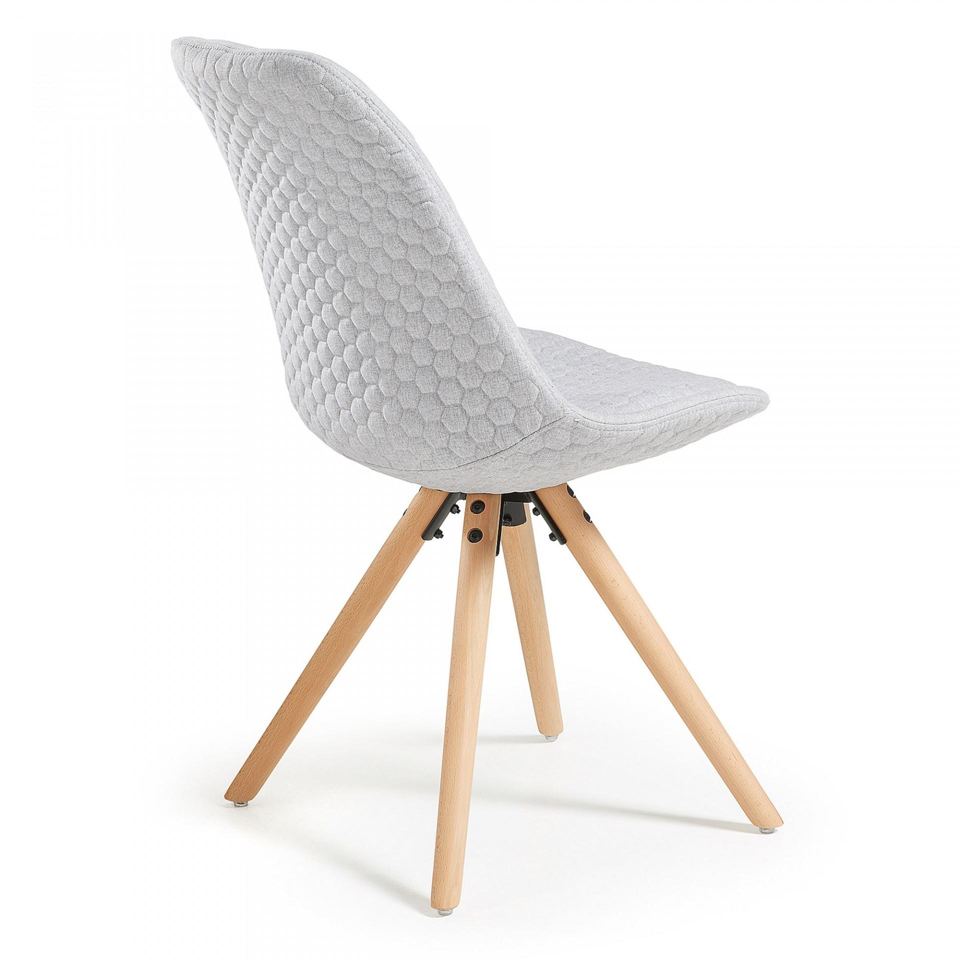 Cadeira Lara, estofada, assento acolchoado, madeira faia