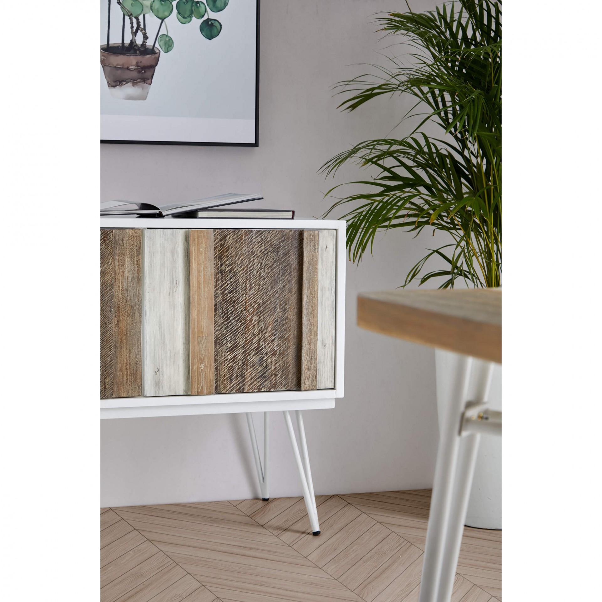 Aparador Nice, madeira acácia/MDF lacado, 80x155 cm