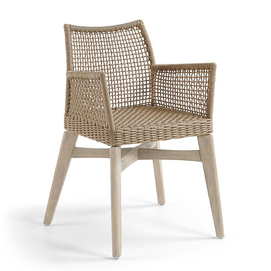 Cadeira c/braços, madeira acácia/corda poliéster