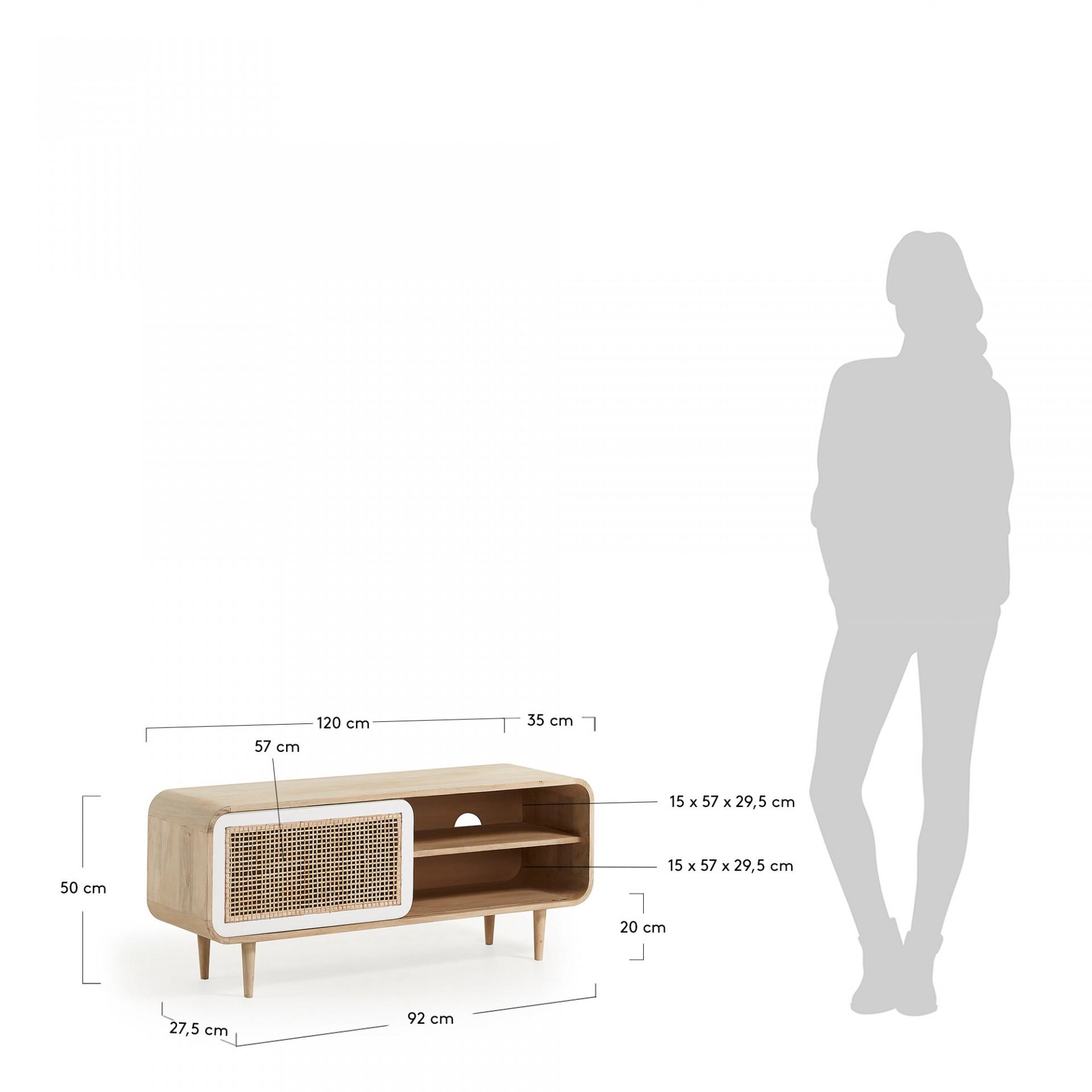 Móvel de TV Geo, madeira de manga natural/cana bambú, 50x120 cm