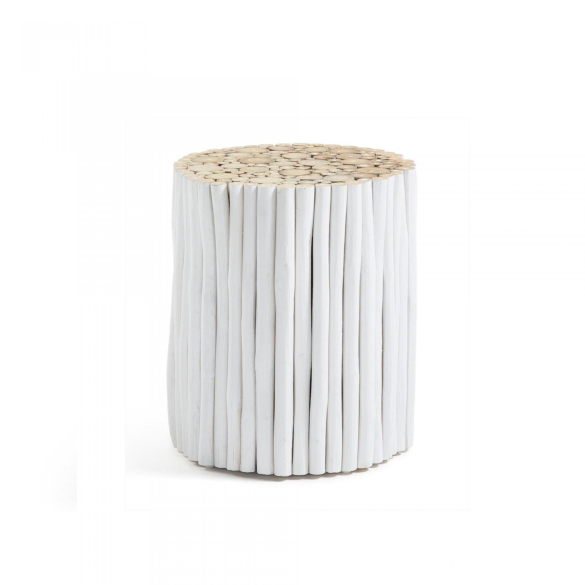 Mesa de apoio em madeira teca natural, Ø35x40 cm