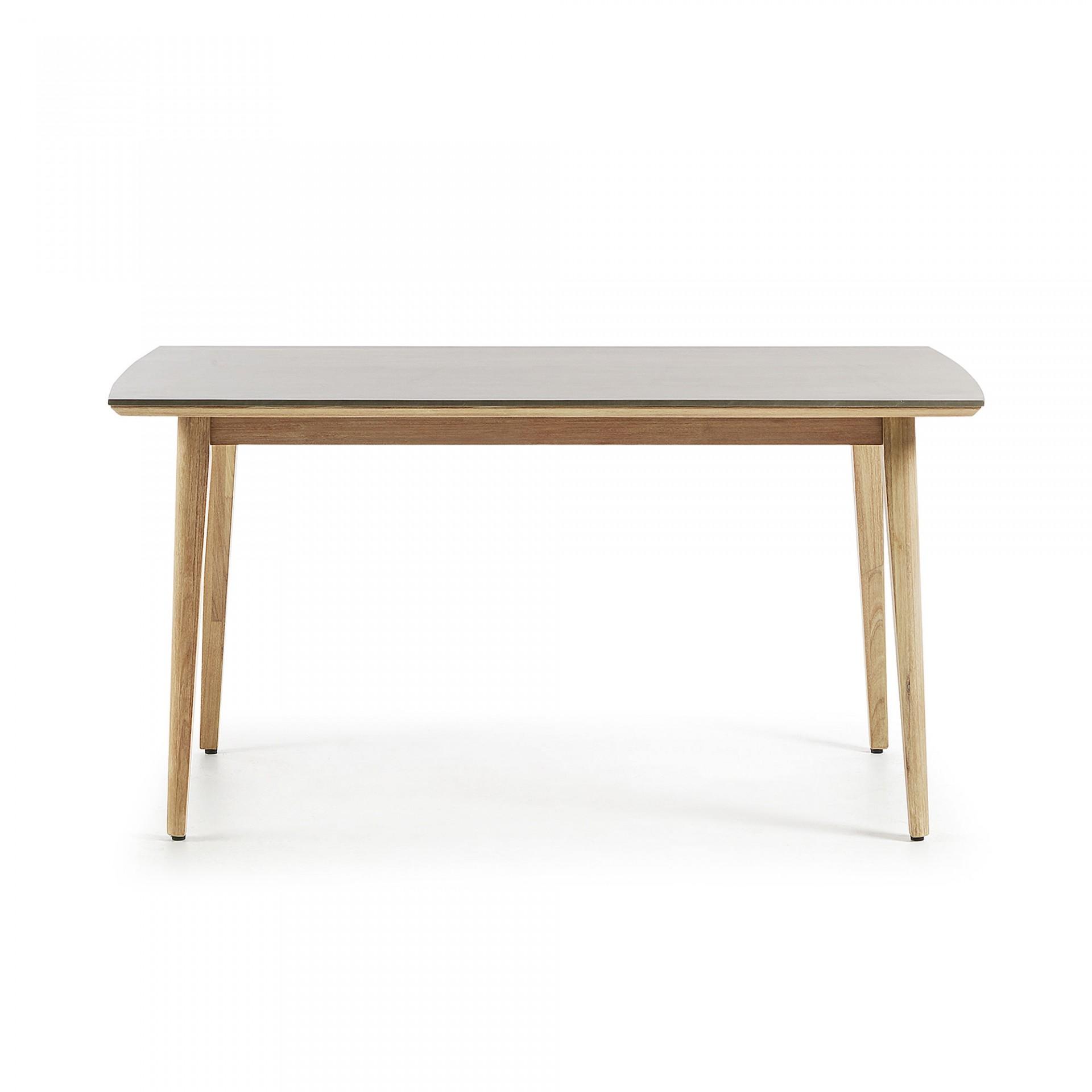 Mesa de jantar c/tampo em poli-cimento, madeira de eucalipto, 160x90 cm