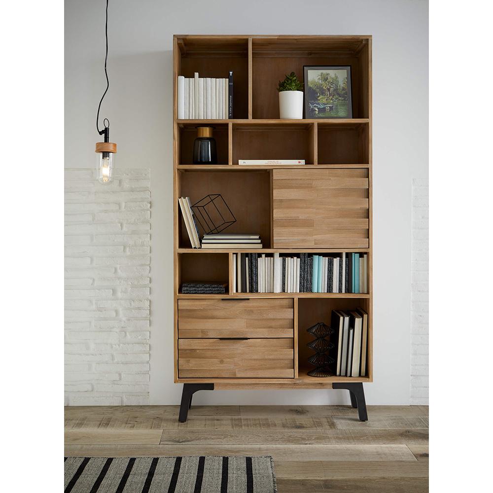 Estante Amsterdam, madeira de acácia natural, 100x195 cm