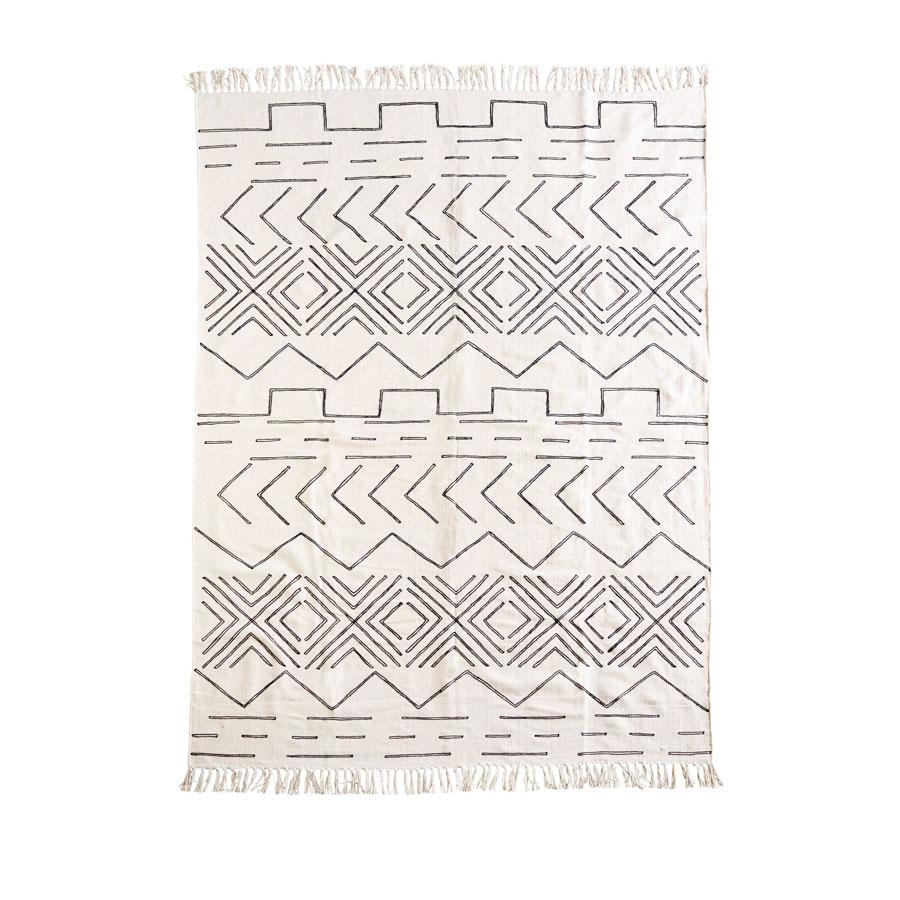 Tapete c/franjas, algodão, 160x230 cm