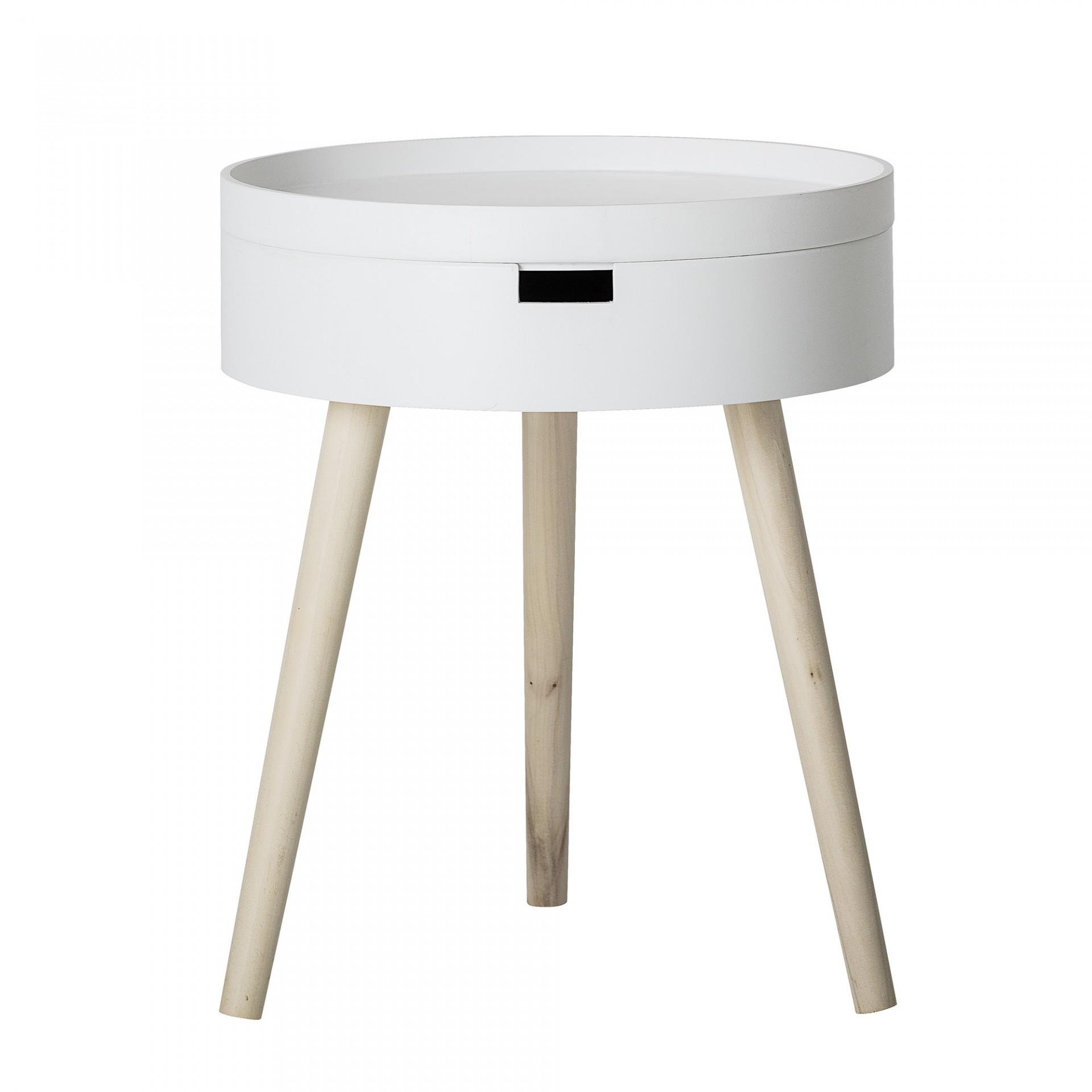 Mesa de apoio Tappa, madeira de pinho/MDF lacado, branco, Ø38x47 cm