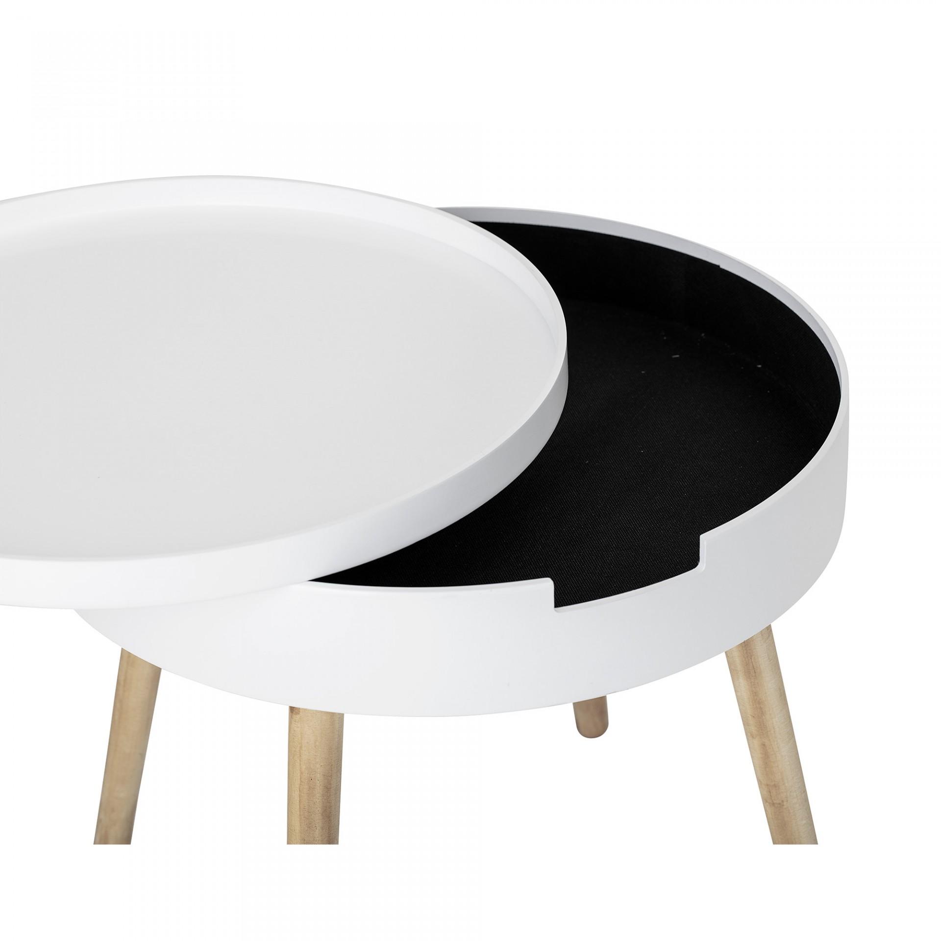 Mesa de apoio, madeira de pinho/MDF lacado, branco, Ø50x45 cm