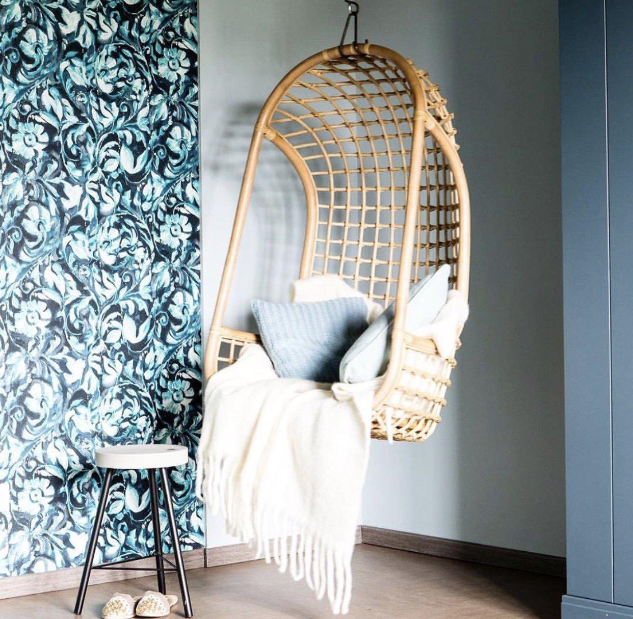 Cadeira suspensa, vime natural, 72x110 cm