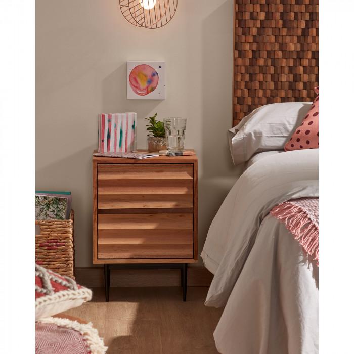 Mesa de cabeceira Delie, madeira de acácia/metal, 55x40 cm