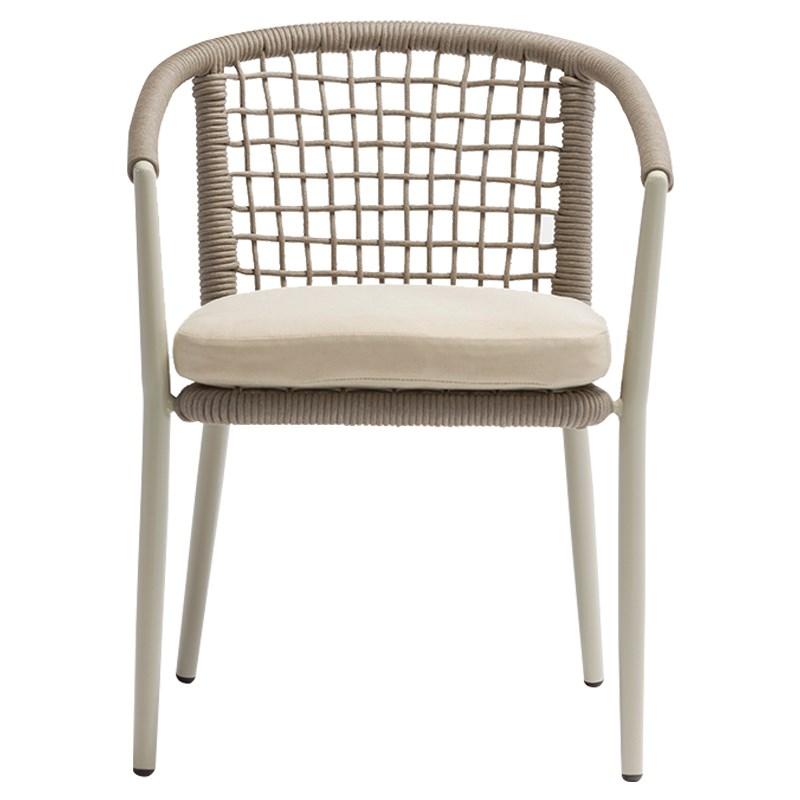 Cadeira Tialvi, alumínio/vime sintético, bege, 60x78 cm