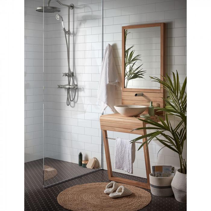 Móvel p/casa de banho, madeira teca natural, c/lavatório em terrazo, 49x60 cm