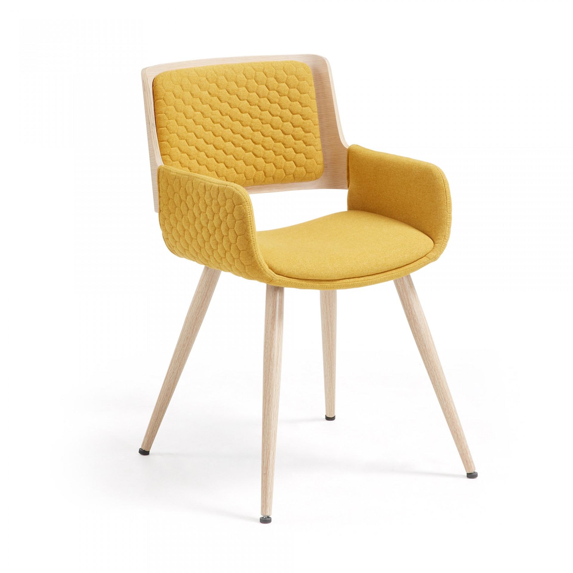 Cadeira estofada, madeira de carvalho/metal
