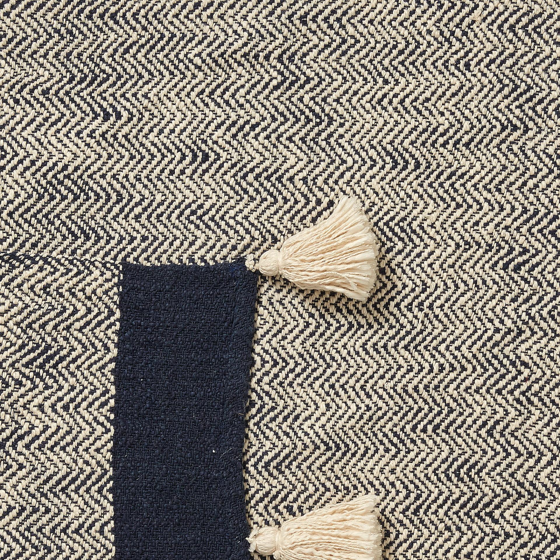 Manta Genni, c/franjas, algodão, azul/bege, 130x170 cm