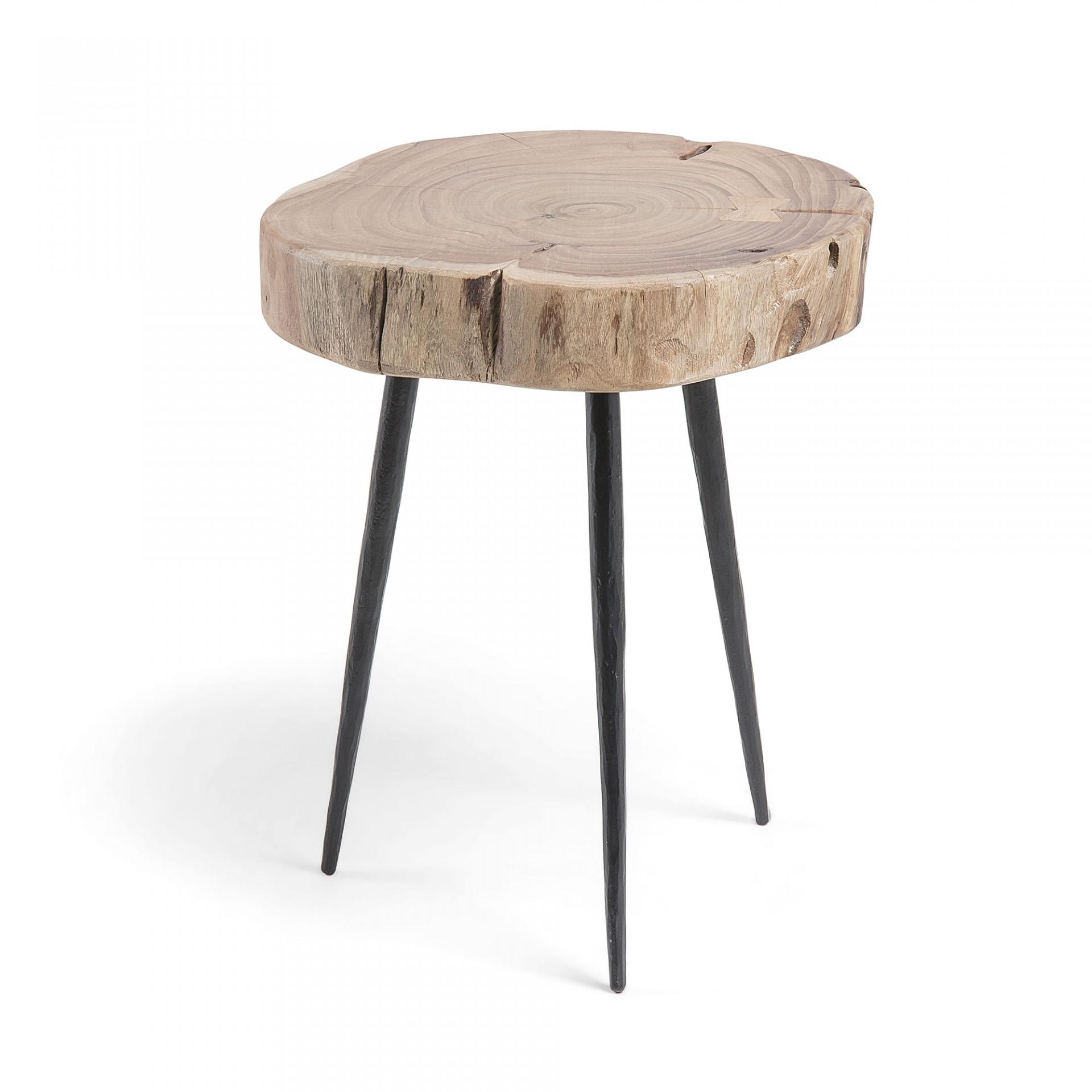 Mesa de apoio em madeira de acácia/metal, Ø34x40 cm