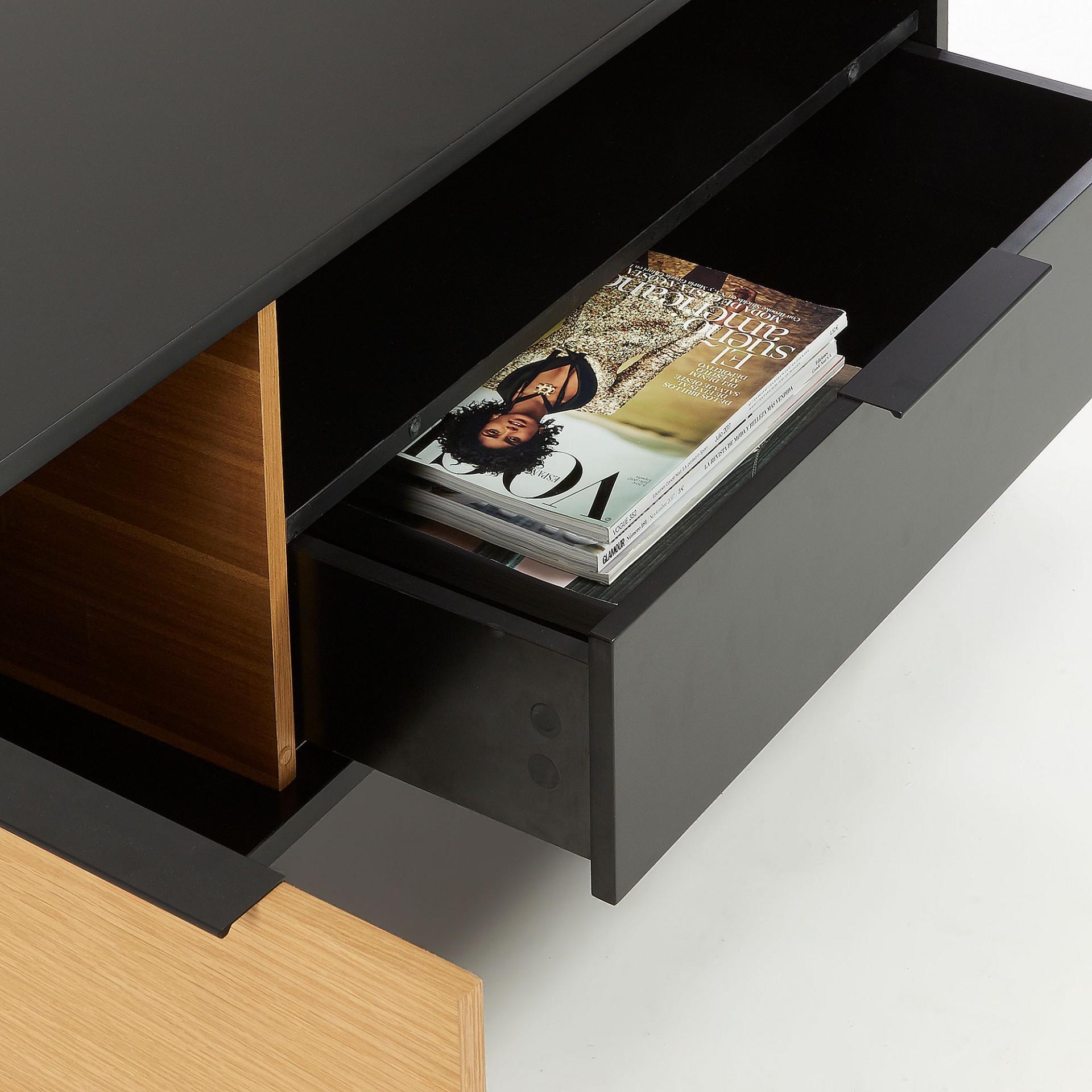 Móvel de TV, madeira de carvalho/MDP lacado, 50x120 cm