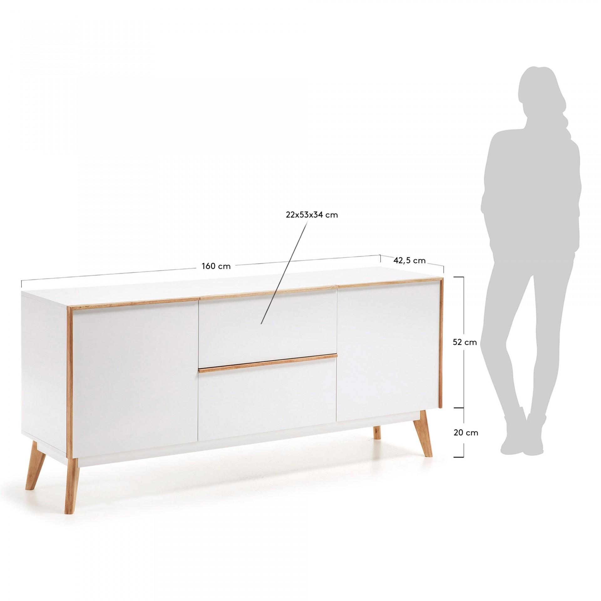 Aparador em madeira de carvalho/MDP lacado, 72x160 cm
