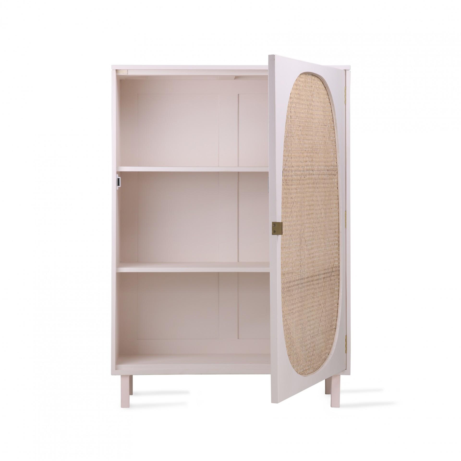 Armário em madeira manga/vime natural, 85x122 cm