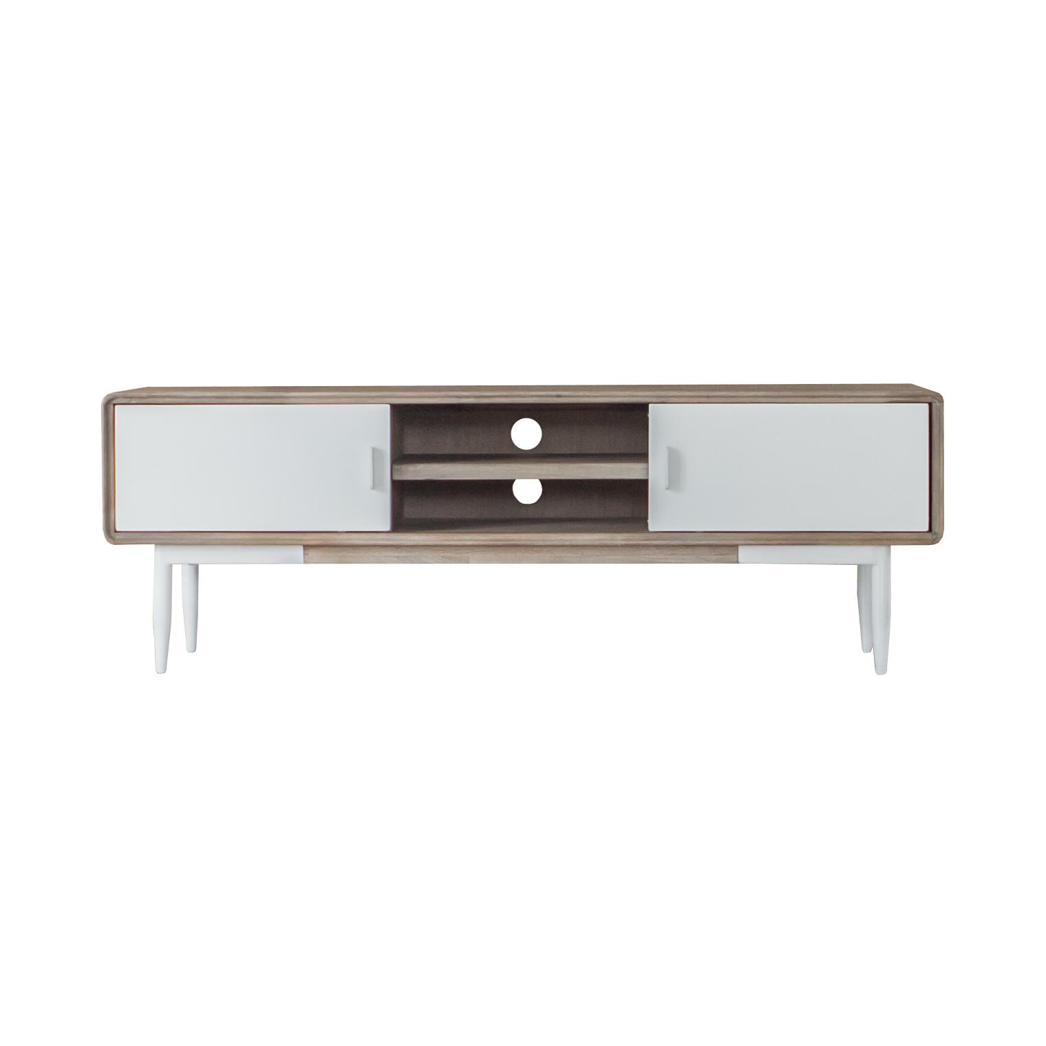 Móvel TV Florence, madeira acácia/MDF lacado, 55x165 cm