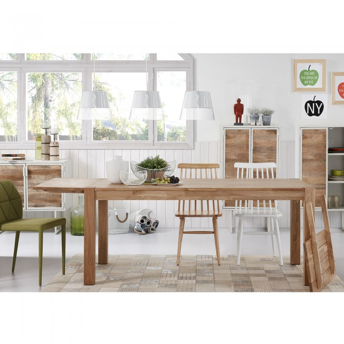 Mesa extensível, madeira de carvalho natural, 180(260)x90