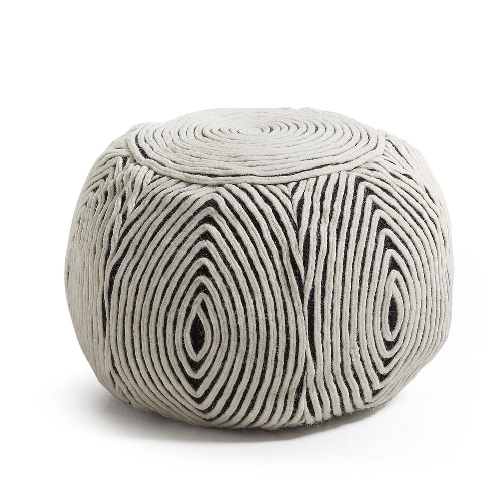 Puff Lyna em lã natural, removível, Ø50x35cm
