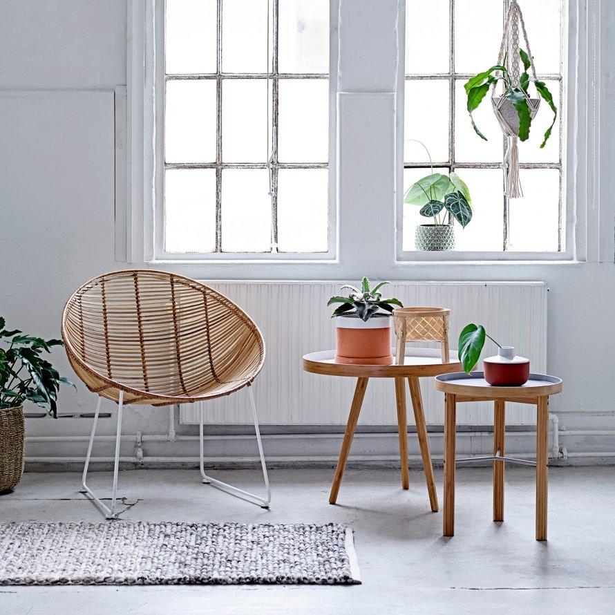Mesas de apoio Cappuccino, madeira de bambú natural, (Conj.2)