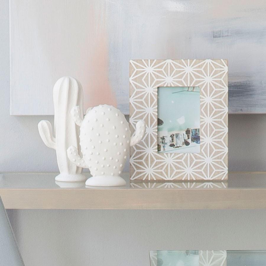 Cactos decorativos em porcelana, branco, (Conj.3)
