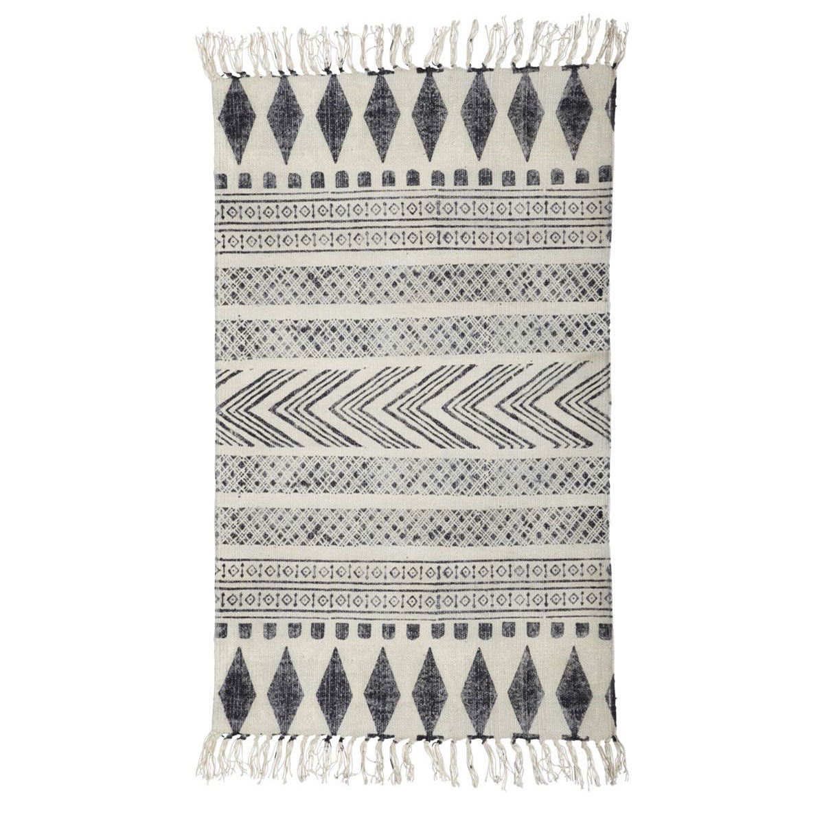 Tapete Block, c/franjas, algodão, 70x240 cm