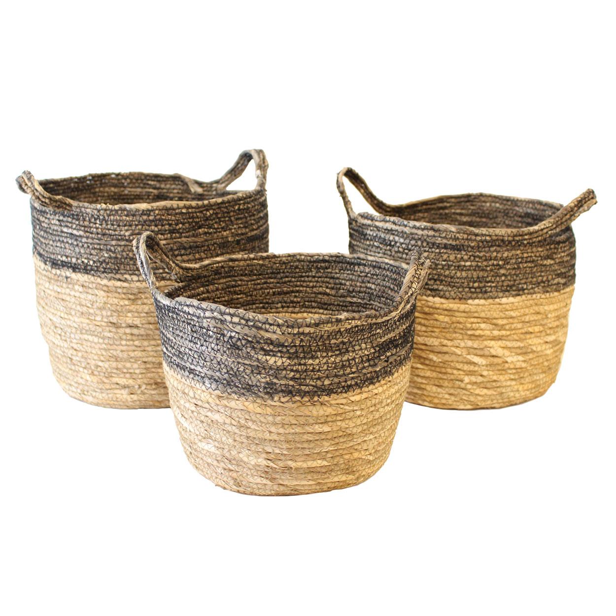 Cestas c/alças, seagrass, (Conj.3)