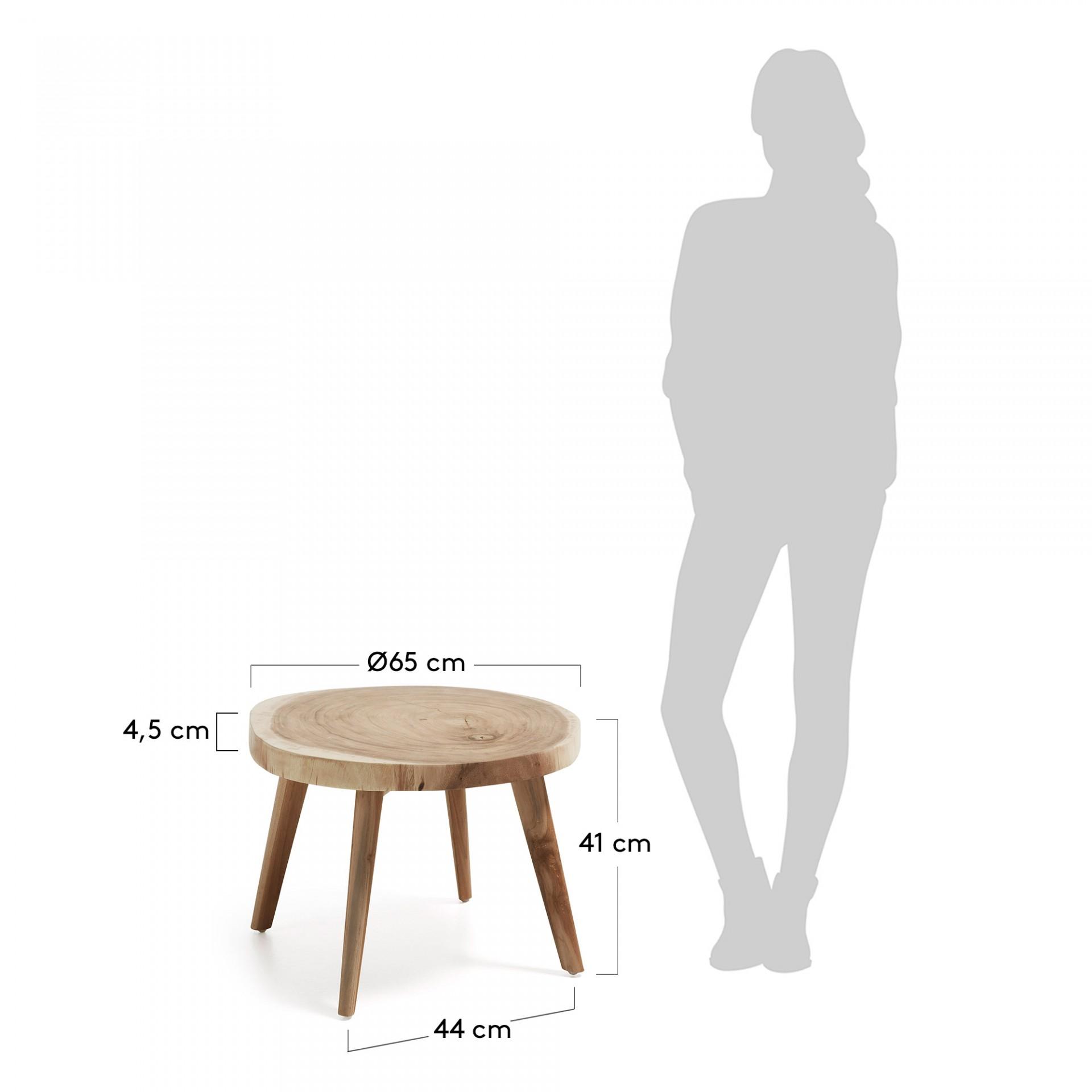 Mesa de centro, madeira Munggur natural, Ø65x41 cm