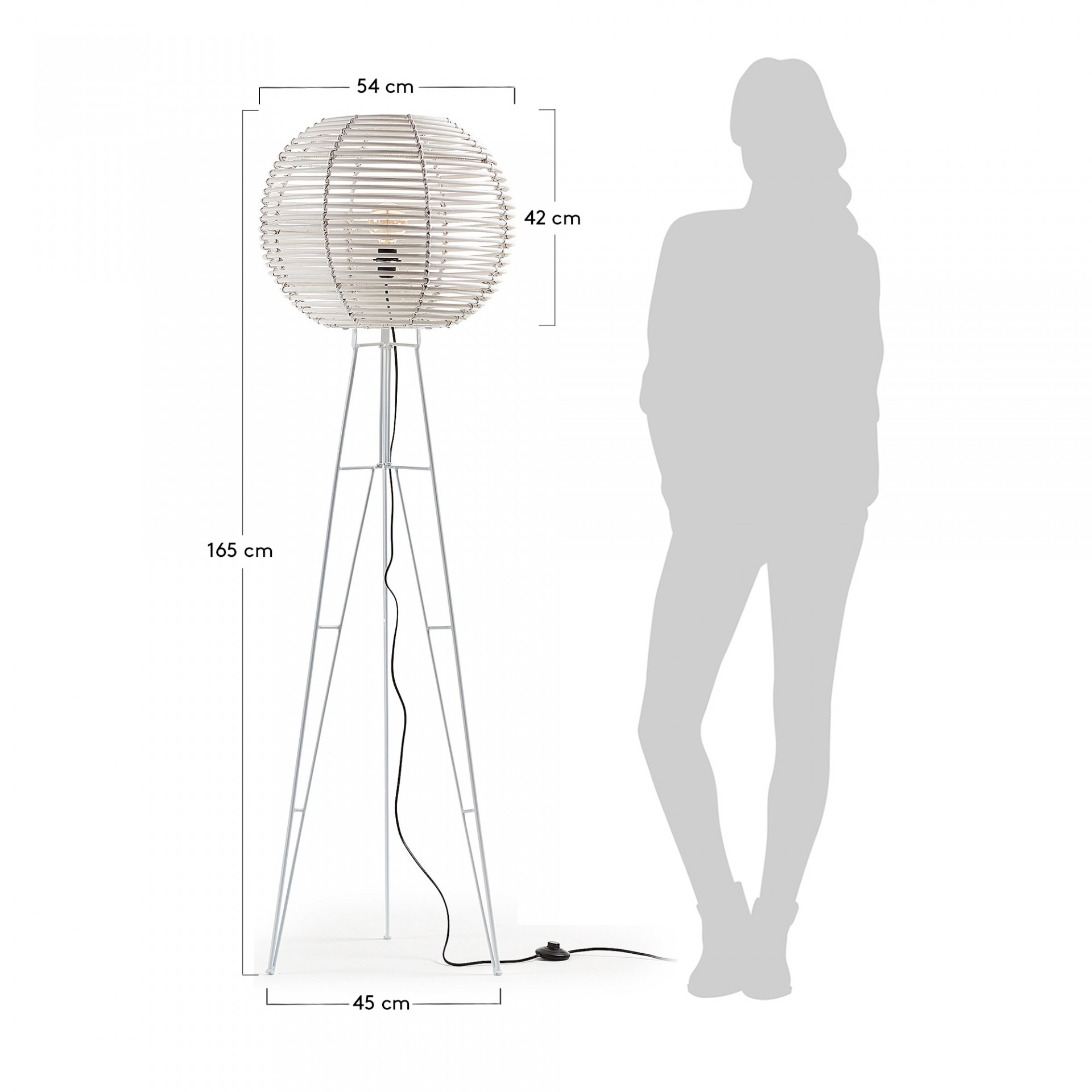 Candeeiro de pé Julian, metal/vime, Ø54x165 cm