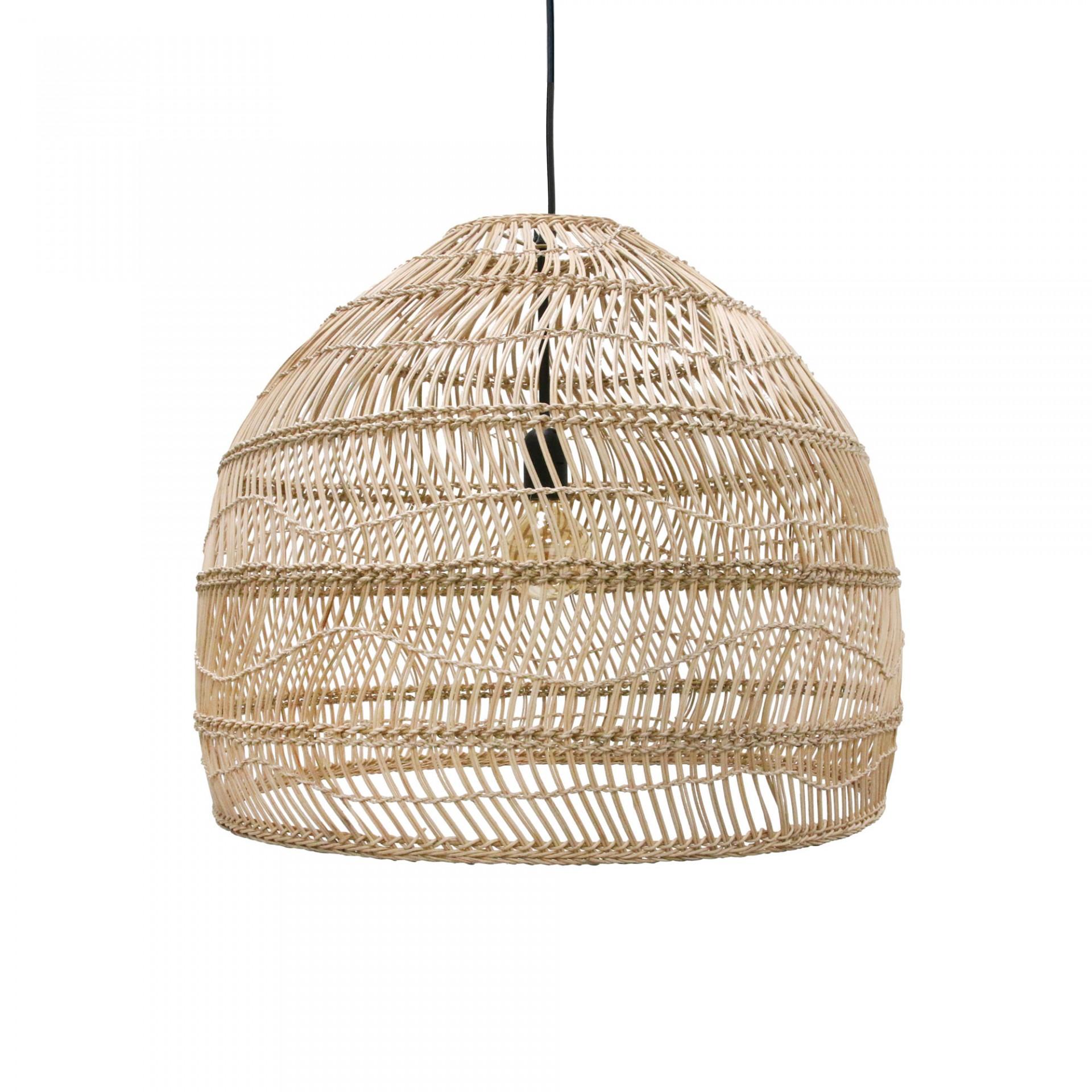 Candeeiro de tecto, vime natural, Ø60x50 cm
