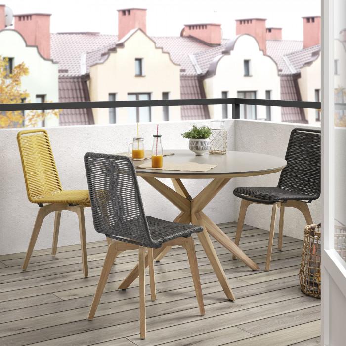 Mesa de jantar, madeira/poli-cimento, Ø120X76cm