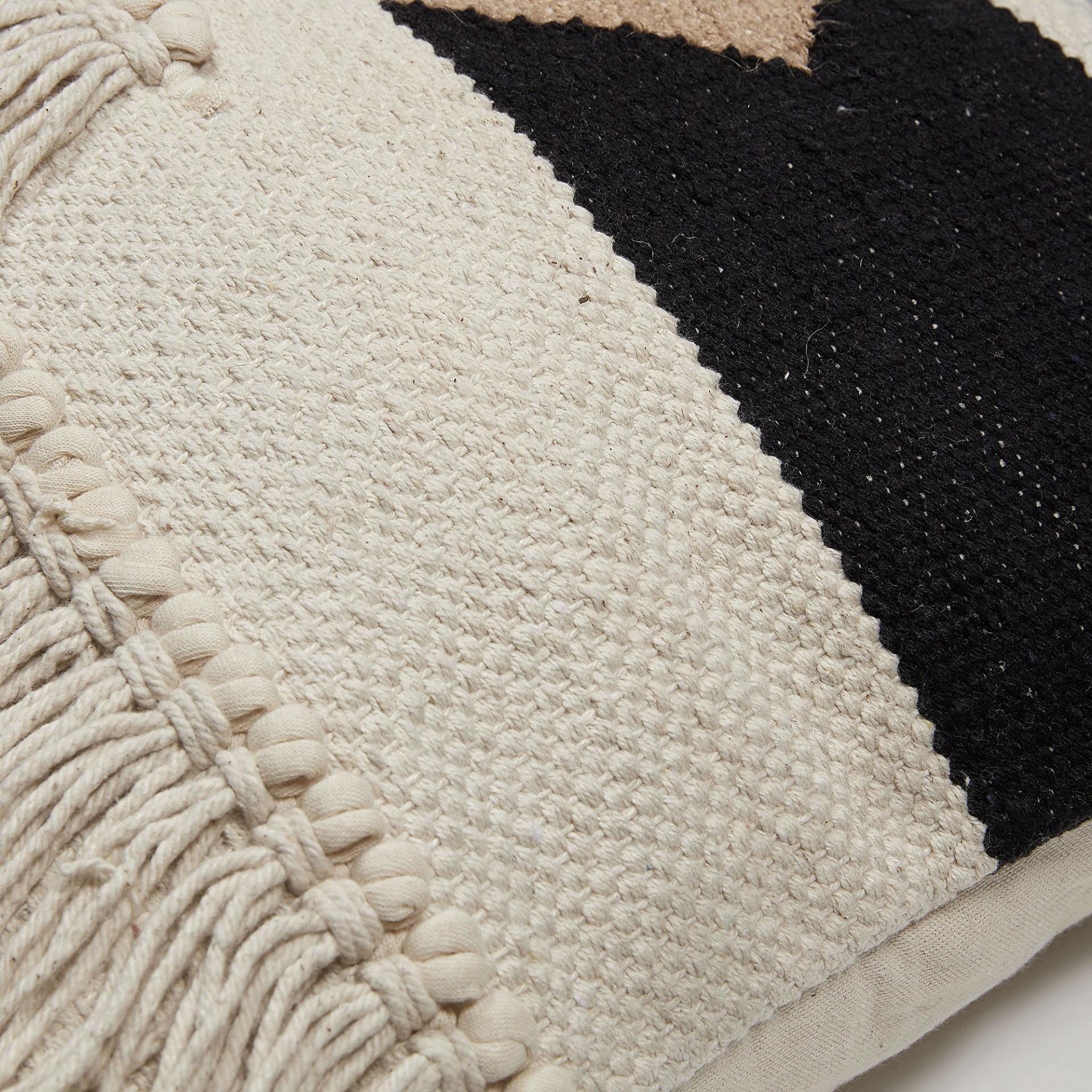 Capa de almofada Natalia, algodão, branco/preto, 45x45 cm