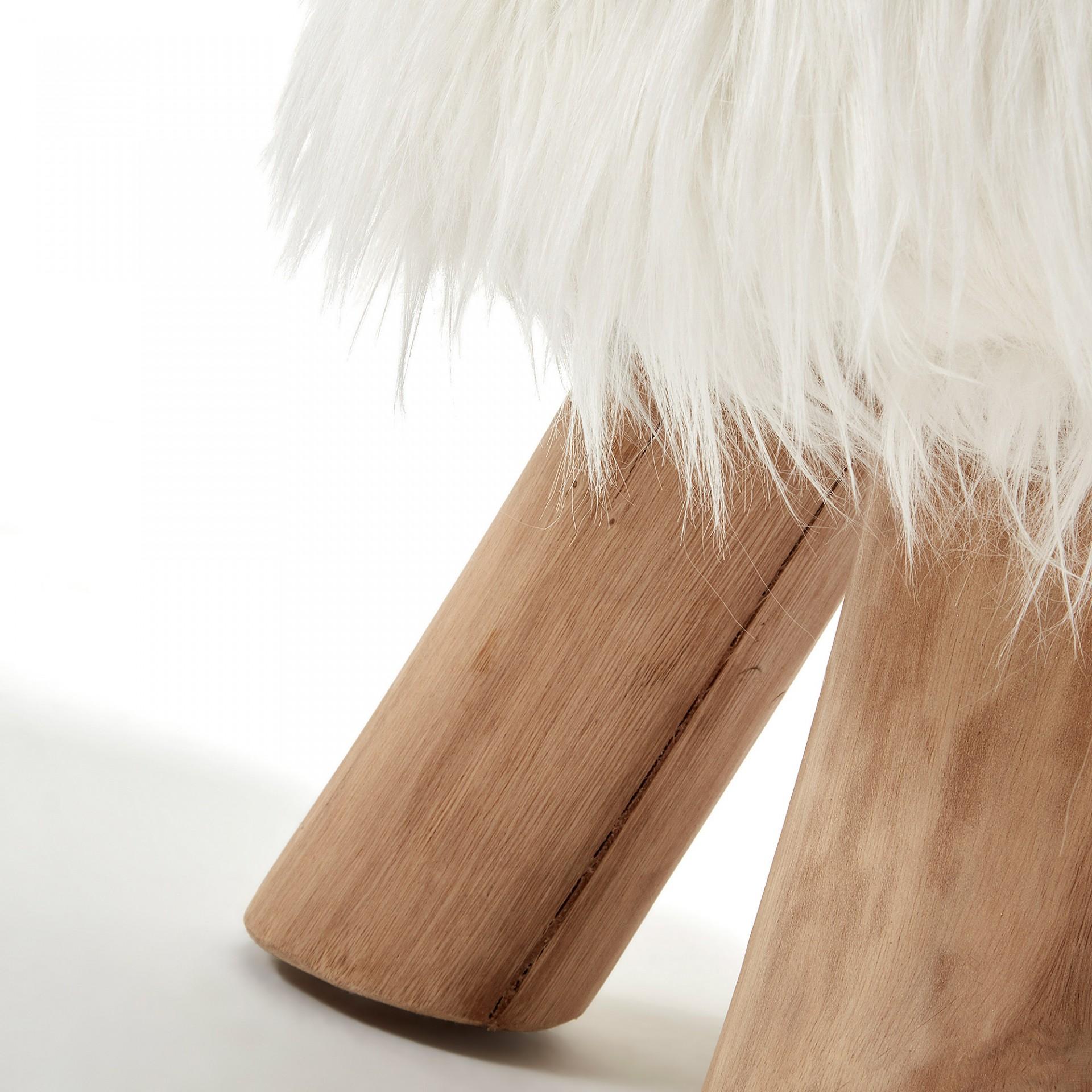 Banco c/forro em pele, madeira teca, Ø35x49 cm
