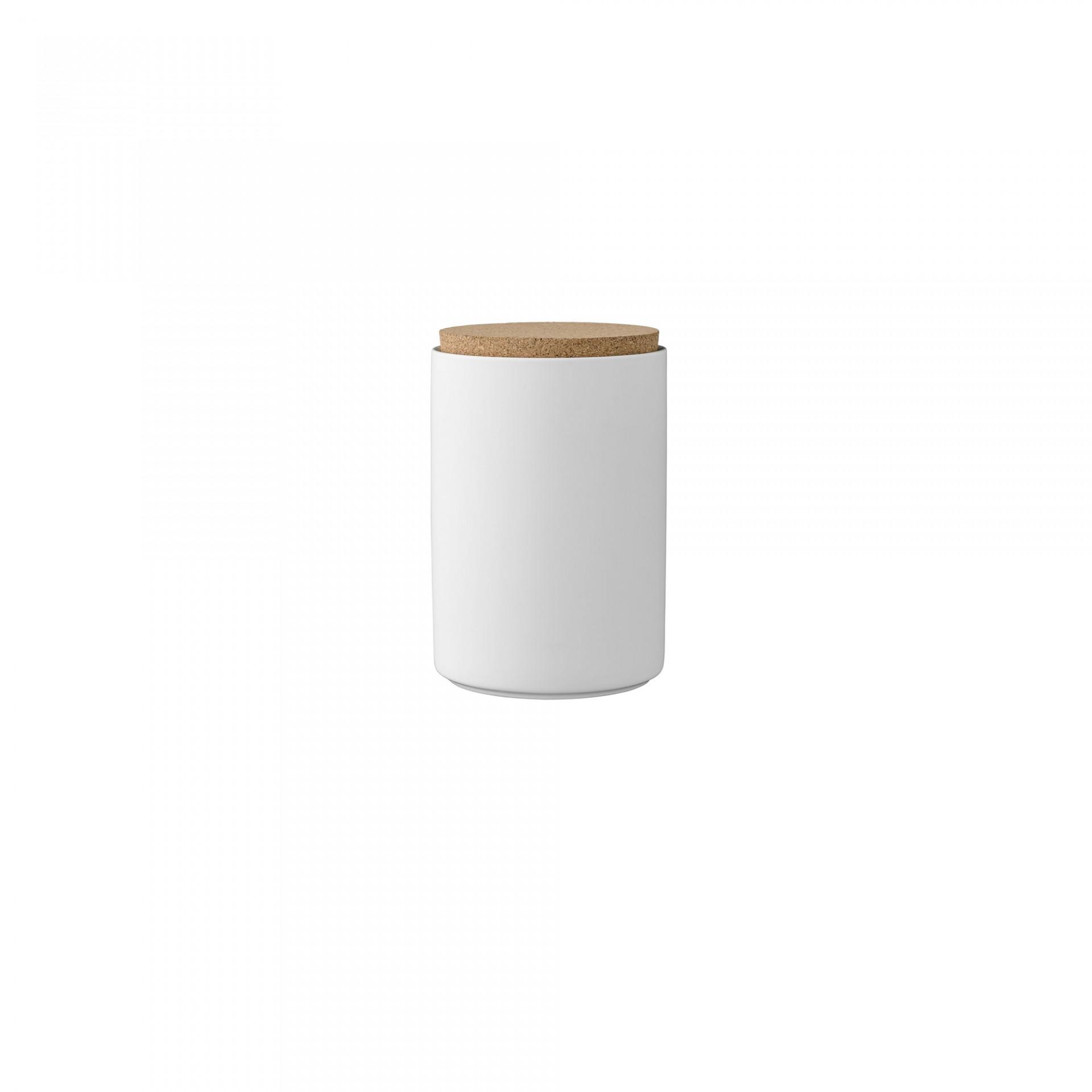 Pote em porcelana c/tampa cortiça, Ø11x16 cm