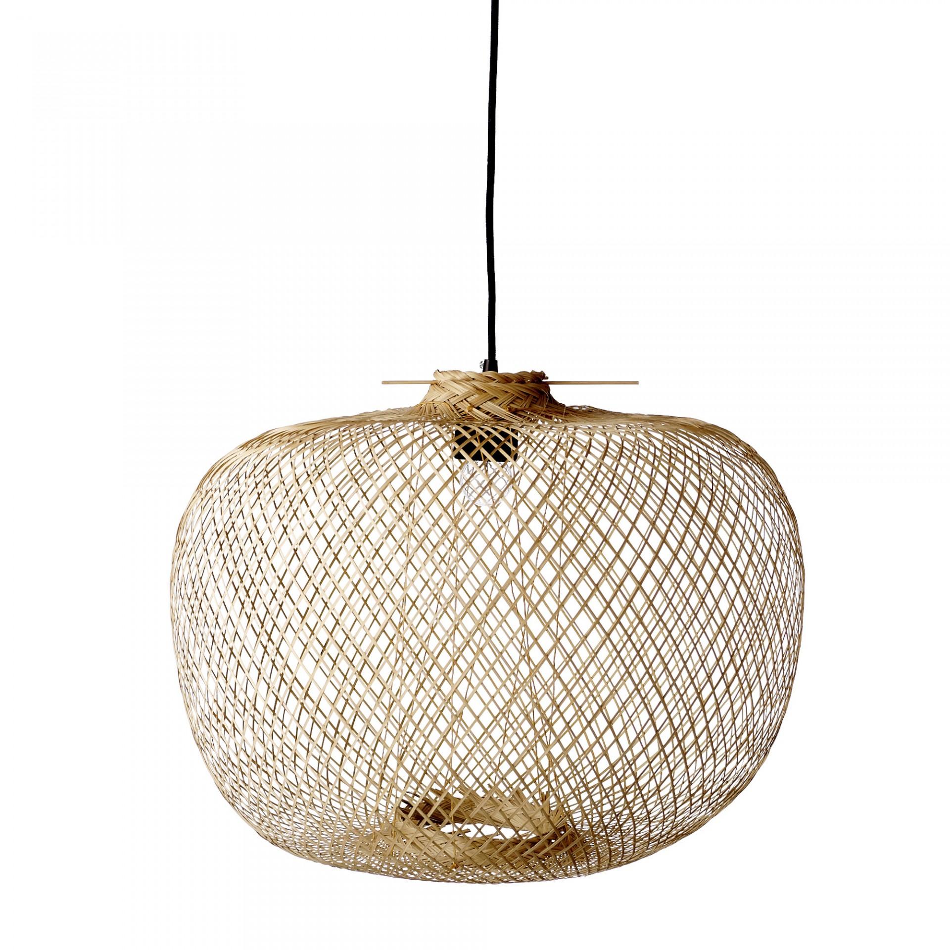 Candeeiro de tecto, bambú natural, Ø42x30 cm