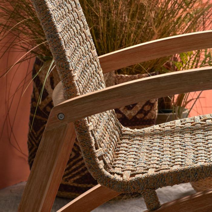 Cadeira de baloiço, madeira de eucalipto/corda poliéster
