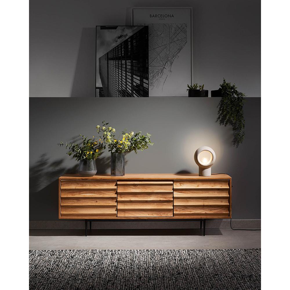Candeeiro de mesa Arila, cimento, cinza claro, Ø19x26 cm