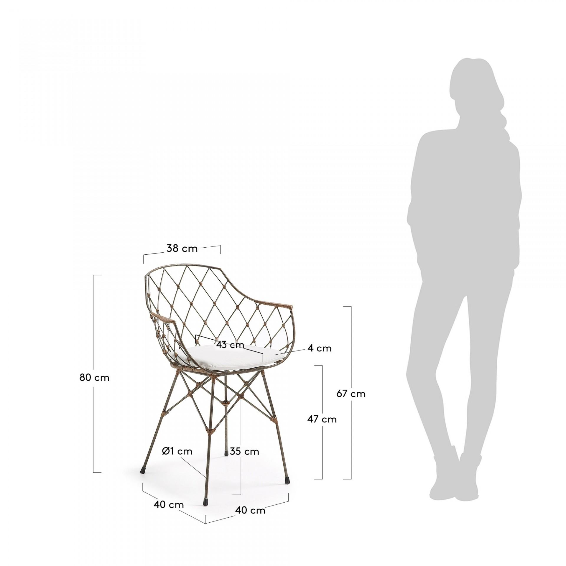 Cadeira Lux em metal/rattan, c/almofada