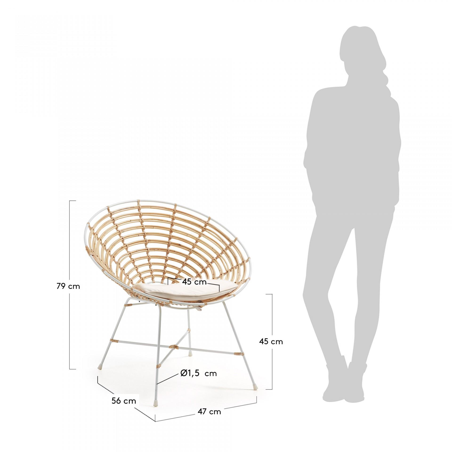 Cadeira Egy em vime natural, c/almofada