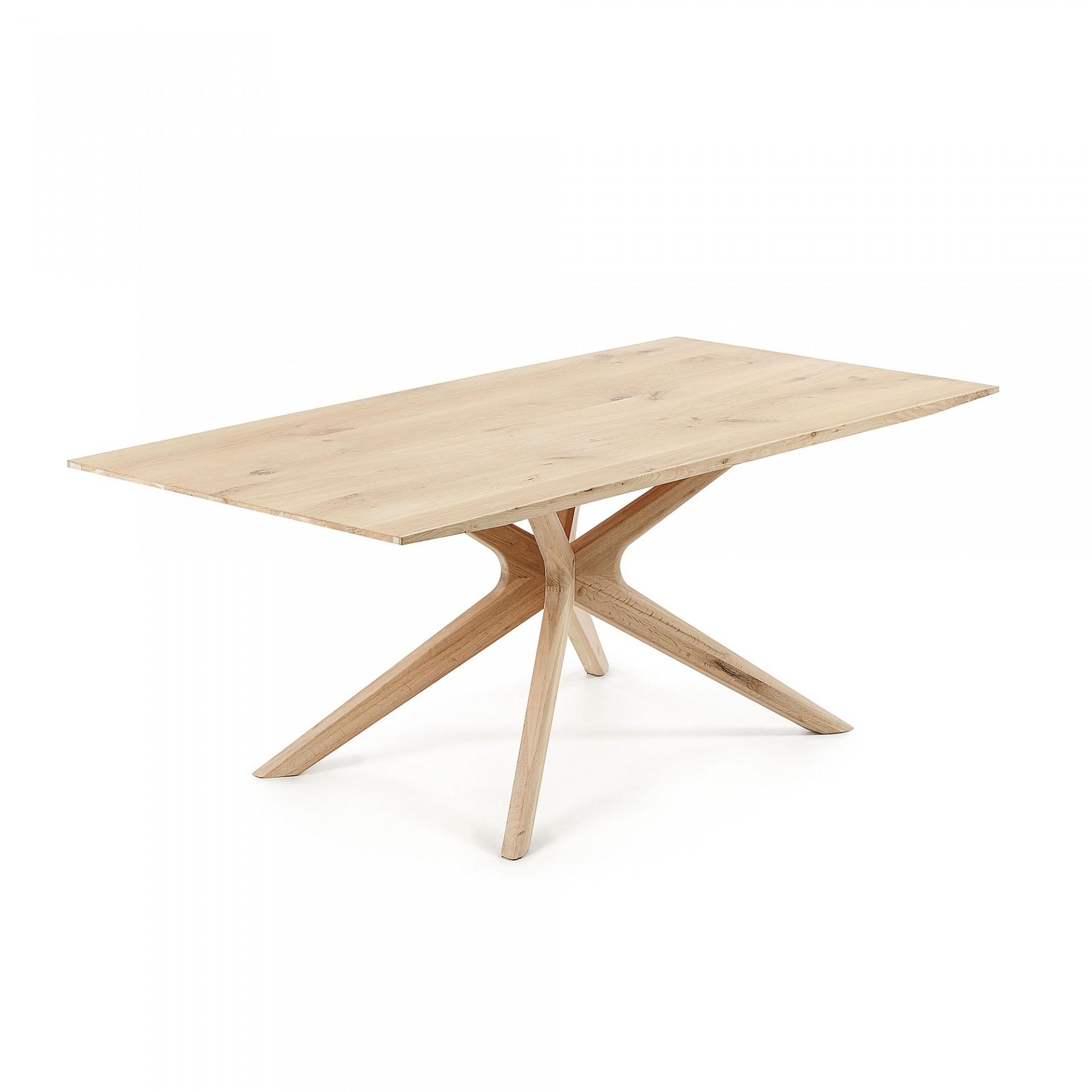 Mesa de jantar, madeira de carvalho natural, 200x100 cm