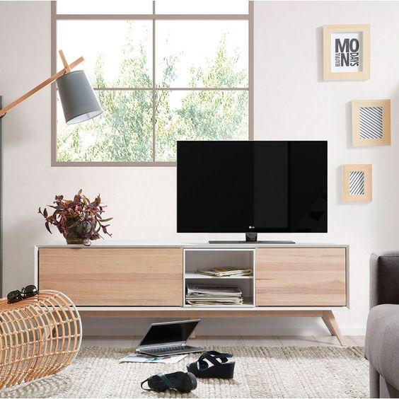 Móvel TV Emmi, madeira de freixo/MDF lacado, 174x45x56