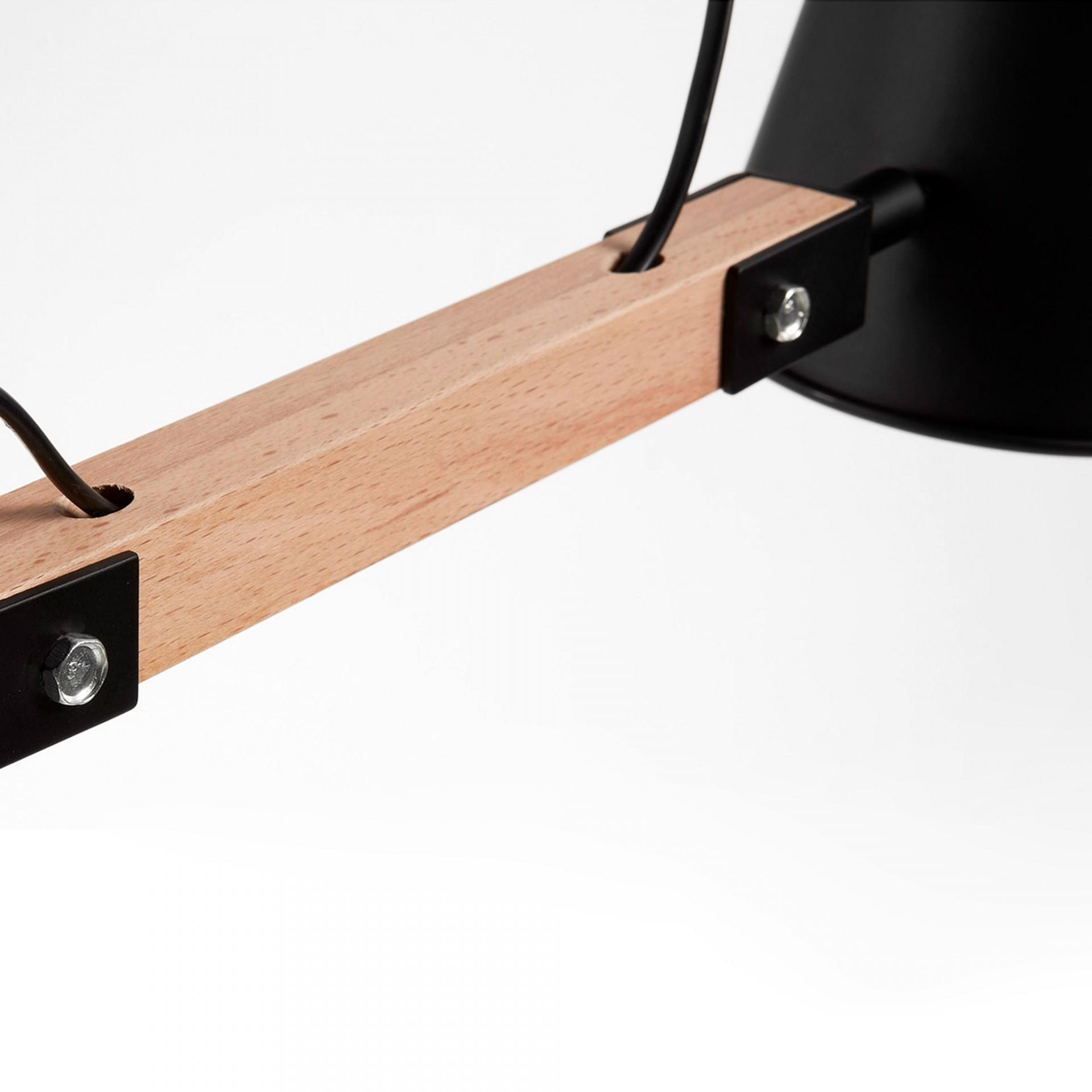 Candeeiro de mesa Andy, madeira/metal, Ø14x60 cm