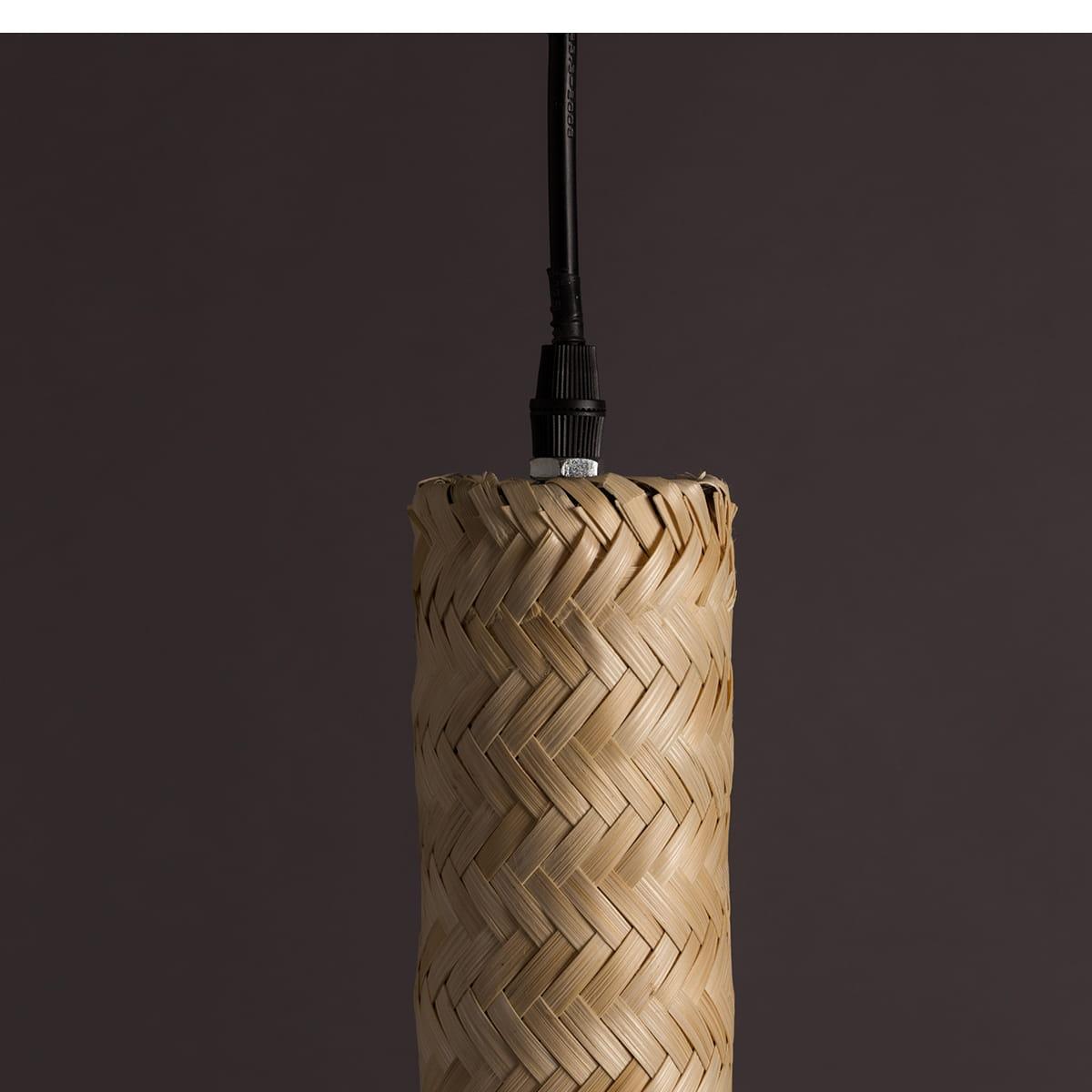 Candeeiro de tecto, bambú natural, Ø6x50 cm